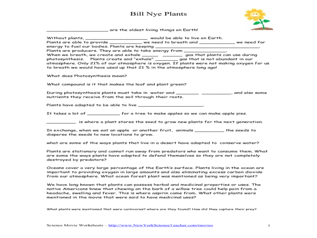 Bill Nye Plants Questions Lesson Plans and Worksheets – Bill Nye Video Worksheets