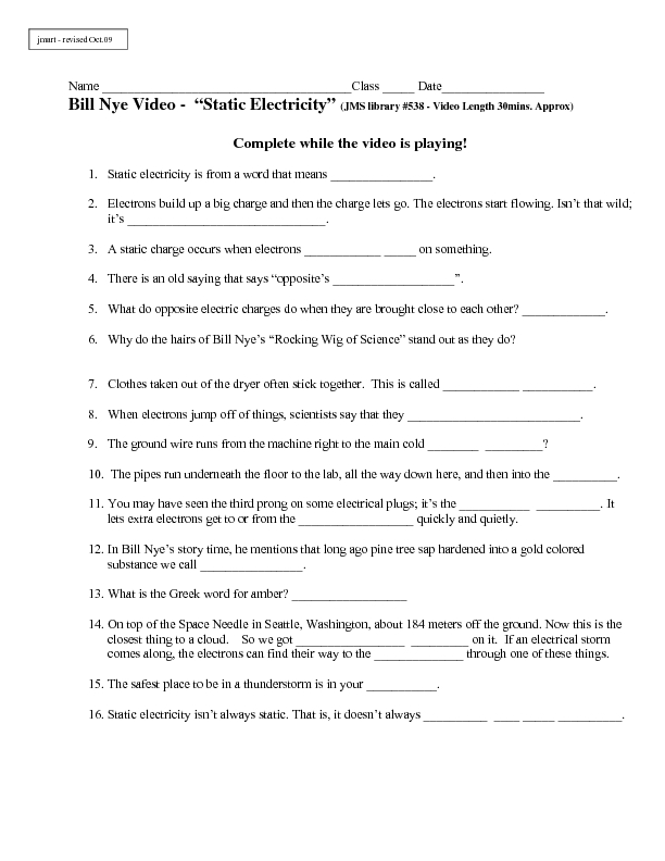 Static electricity worksheets 5th grade