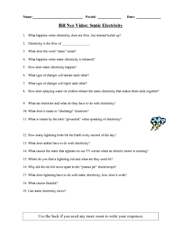 Bill Nye Video Static Electricity 6th 10th Grade Worksheet – Bill Nye Video Worksheets