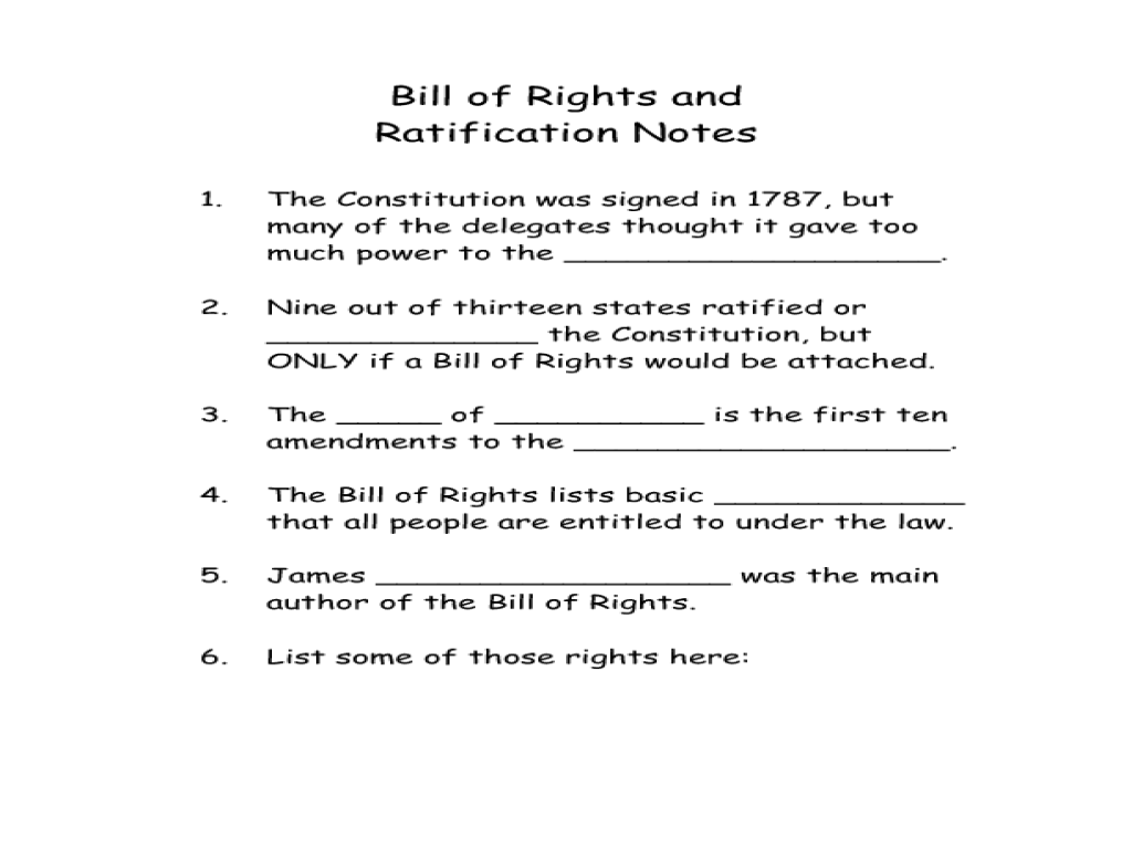 Bill of Rights and Ratification Notes 5th 6th Grade Worksheet – Bill of Rights Worksheets