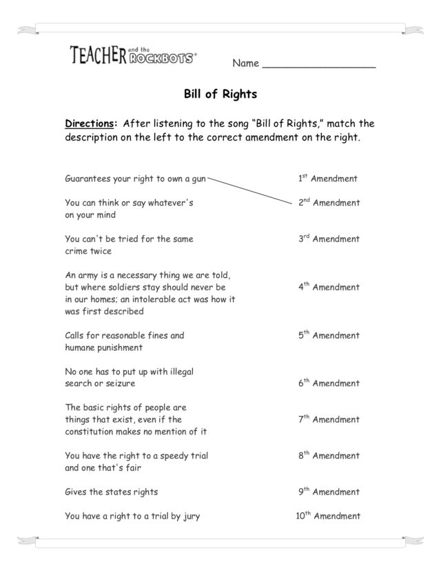 Printables Bill Of Rights Matching Worksheet bill of rights scenario worksheet intrepidpath 4th grade worksheets