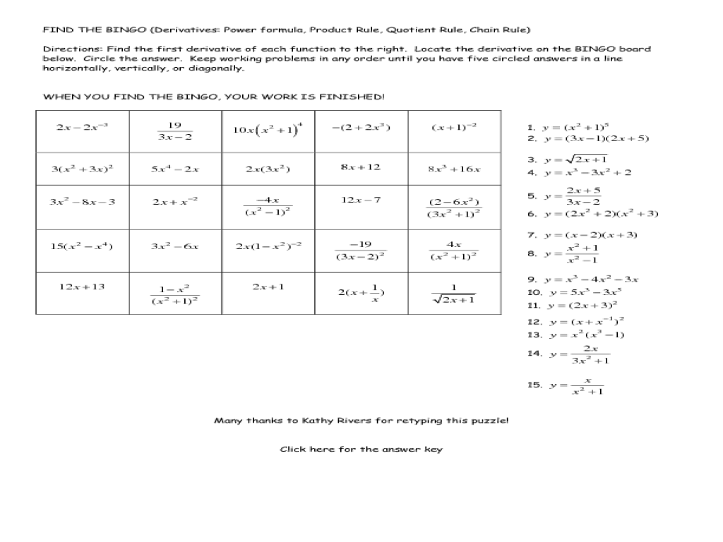Worksheets Product Rule And Quotient Rule Exponents Worksheet bingo derivatives power rule product quotient 11th 12th grade worksheet lesson planet