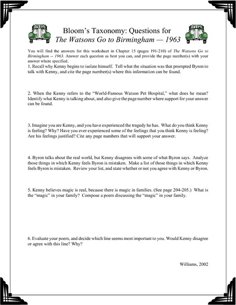 Watsons Go to Birmingham - 1963, The - Activity Sheet by ...