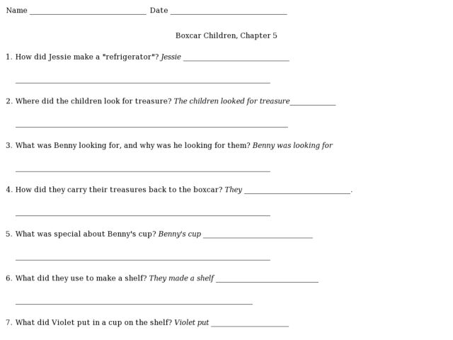 Boxcar Children Worksheets - Synhoff