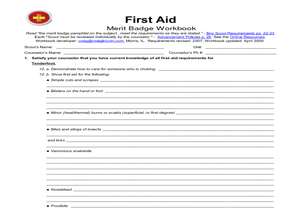 First Aid Merit Badge Worksheet  Kidz Activities