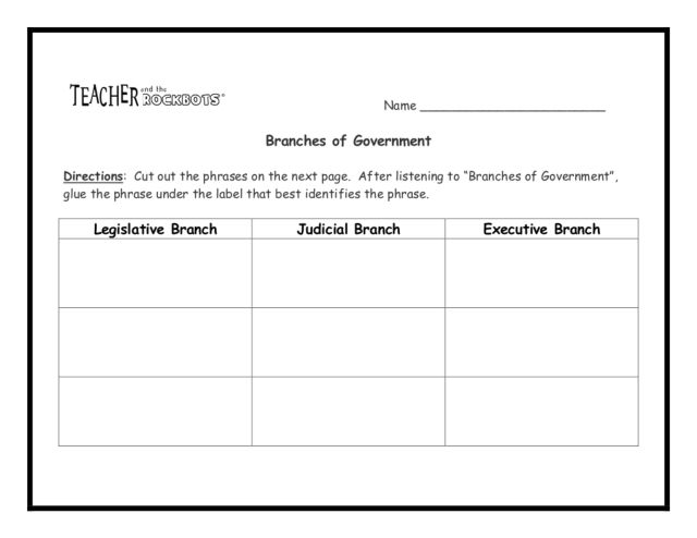 Branches of Government 5th 8th Grade Worksheet – Three Branches of Government Worksheet