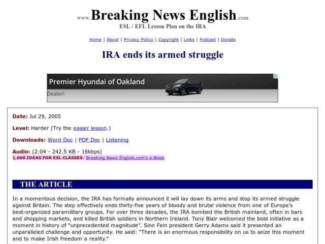 Breaking News English IRA Ends its Armed Struggle 5th 10th – Ira Worksheet