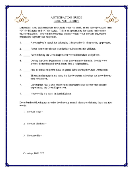 Printables Bud Not Buddy Worksheets bud not buddy anticipation guide 6th 8th grade lesson plan planet