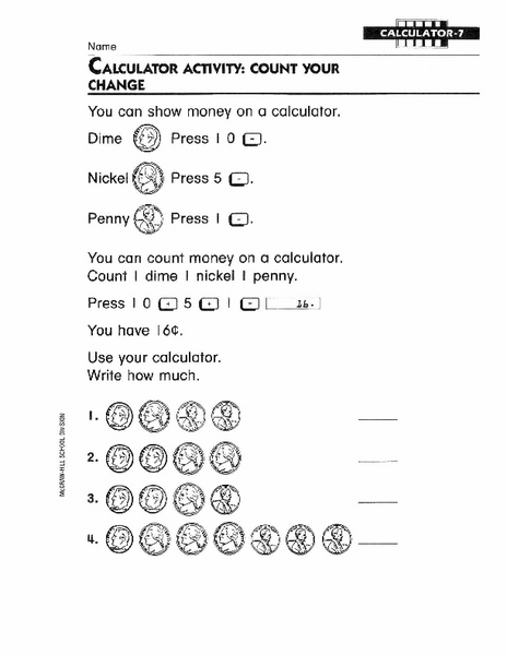 Calculator Activity: Count Your Change 1st - 2nd Grade Worksheet ...