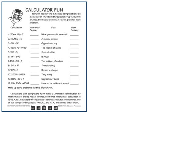 Printables Calculator Worksheets maths worksheets calculator skills fun 4th 5th grade worksheet lesson planet