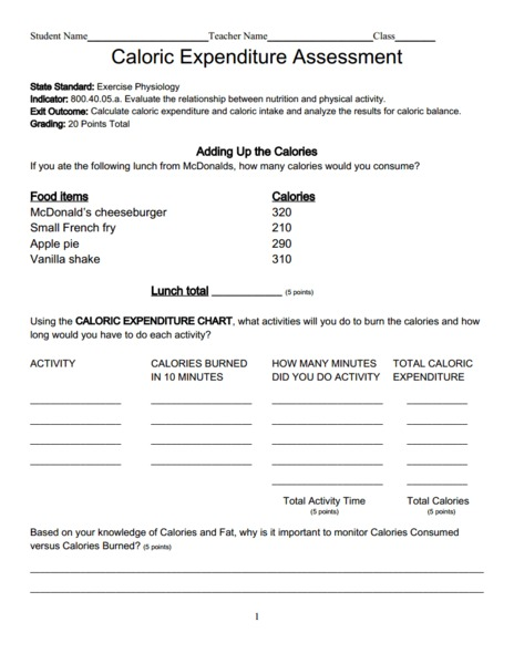 Worksheets Calorie Worksheet calorie expenditure assessment 6th 10th grade worksheet lesson planet