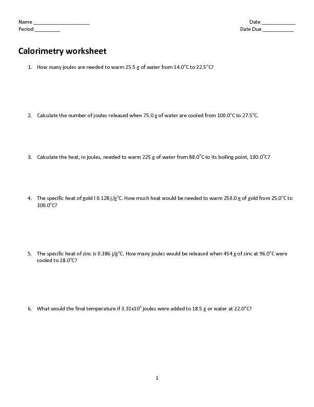 Printables Calorimetry Worksheet calorimetry worksheet 10th higher ed lesson planet