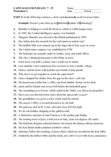 Capitalization Rules 7-15 Worksheet 2 7th - 9th Grade Worksheet ...
