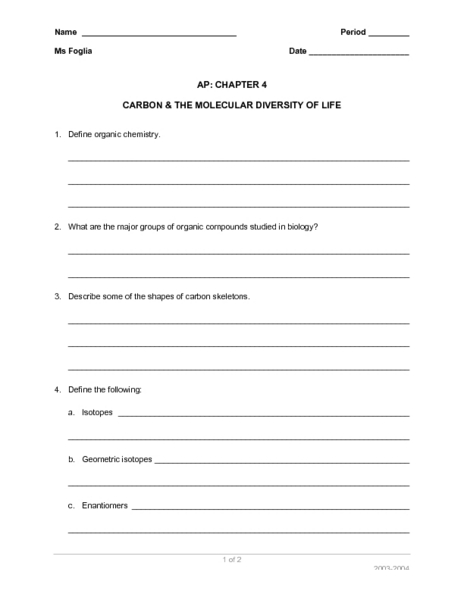 Printables Diversity Worksheets carbon and the molecular diversity of life 11th higher ed worksheet lesson planet