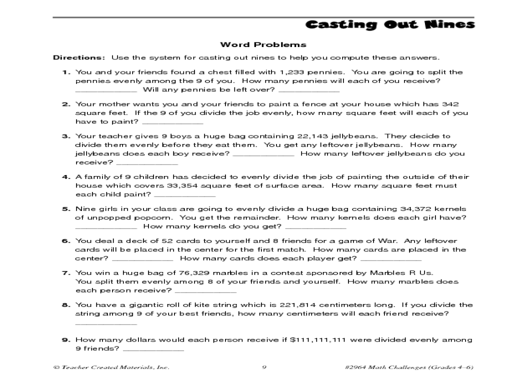 Casting Out Nines Divisibility By 9 4th 6th Grade Worksheet – Worksheet on Divisibility Rules