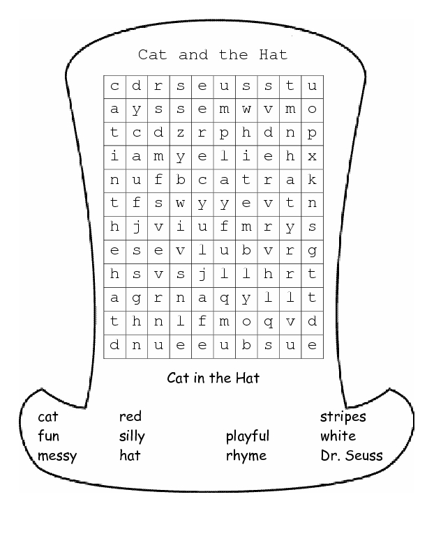 Worksheets Cat In The Hat Worksheets cat in the hat worksheets 2nd grade intrepidpath and word search 4th worksheet lesson pla