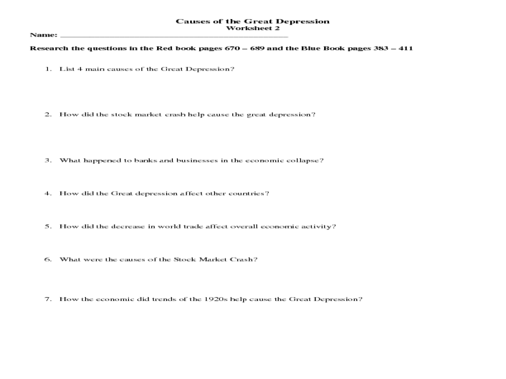 Printables Depression Worksheets causes of the great depression 7th 12th grade worksheet lesson planet