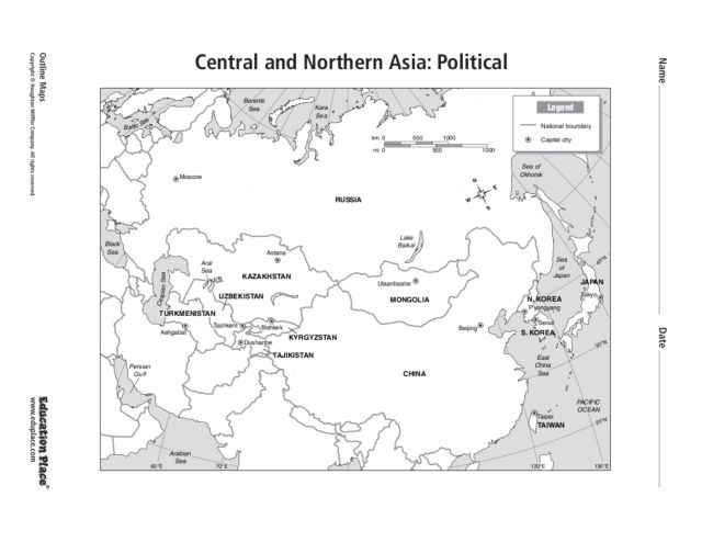 Central And Northern Asia Map Clubmotorseattle