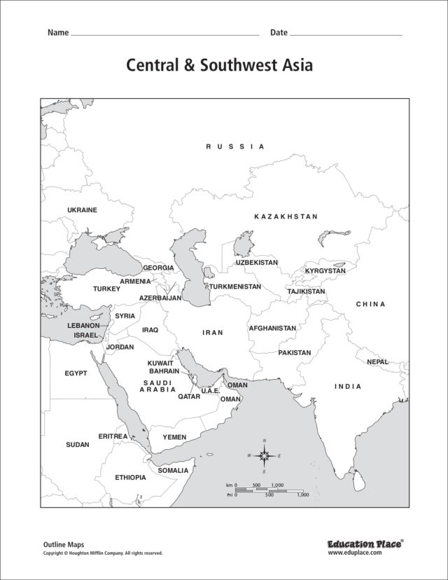 Central & Southwest Asia: Labeled Map 6th - 12th Grade Worksheet ...