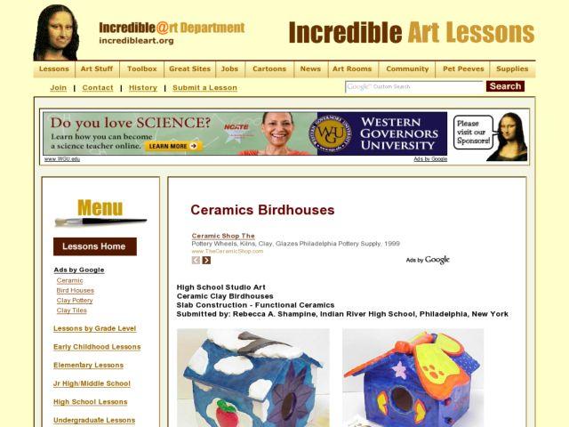 Clay Birdhouses Lesson Plans