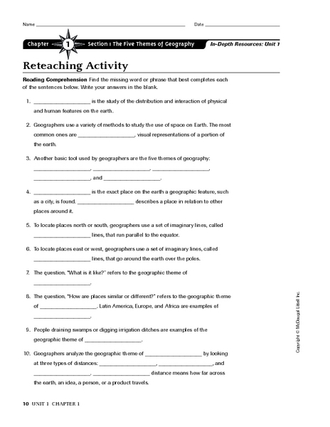 Printables Themes Of Geography Worksheet chapter 1 section the five themes of geography reteaching activity 6th 8th grade worksheet lesson planet