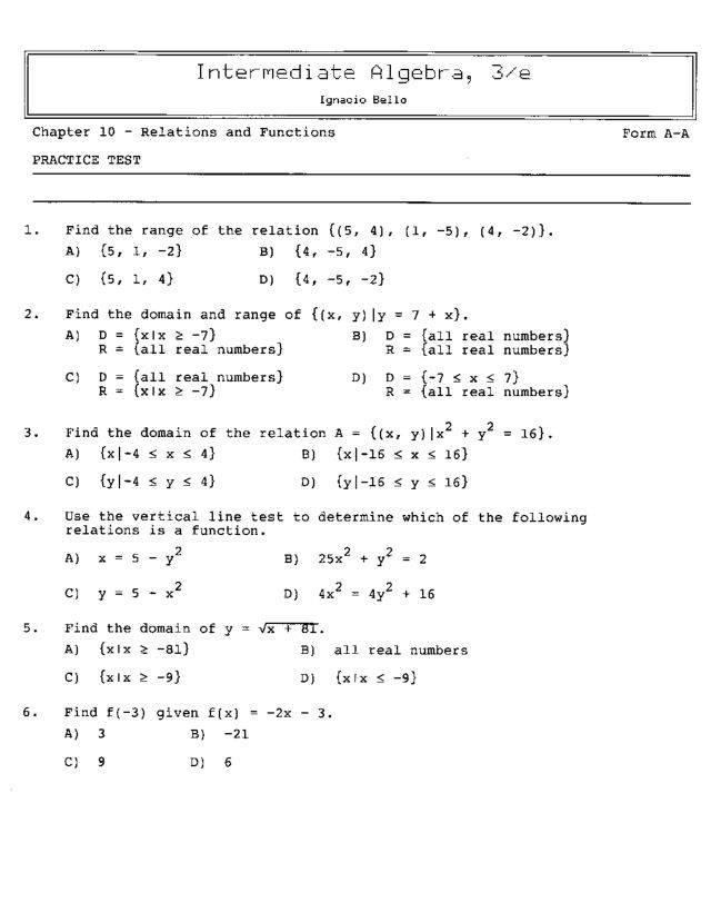 Chapter 10Relations and Functions Practice Test 8th 10th Grade – Relations and Functions Worksheet