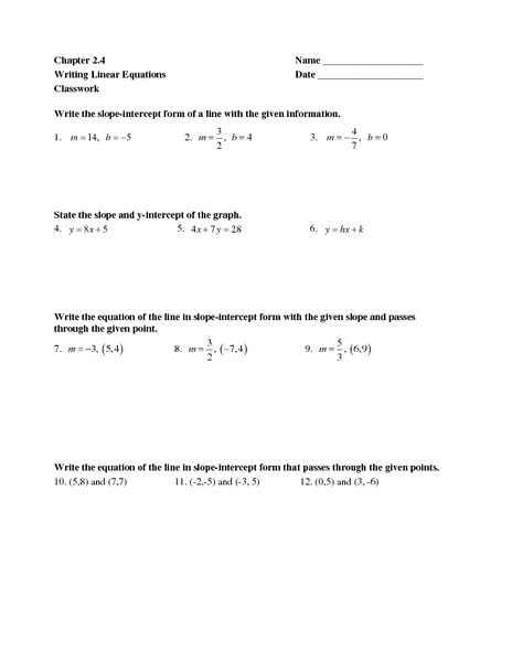Worksheets Worksheet Writing Equations chapter 2 4 writing linear equations 7th 9th grade worksheet lesson planet