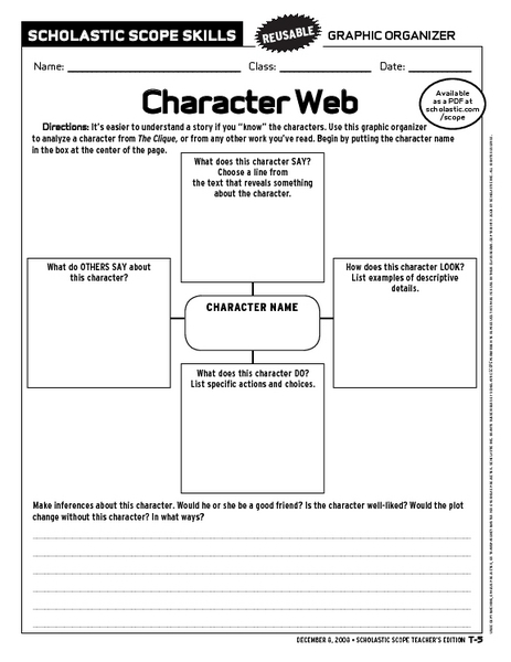 Character Web Graphic Organizer 6th - 9th Grade Worksheet | Lesson ...