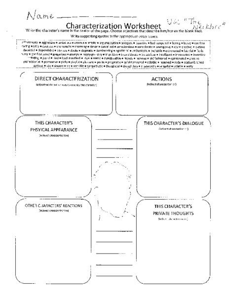 Printables. Characterization Worksheet. Agariohi Worksheets Printables
