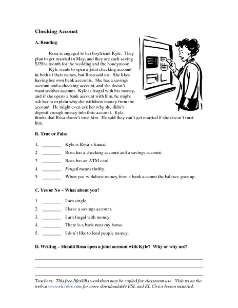 Worksheets Checking Account Worksheets checking account reading comprehension 4th 6th grade worksheet lesson planet