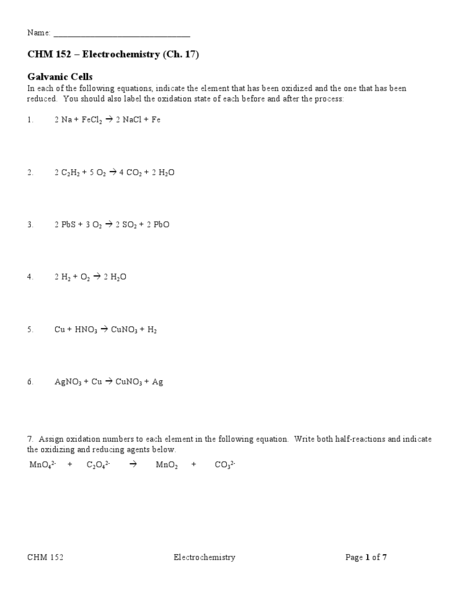 Worksheets Electrochemistry Worksheet chem 152 electrochemistry 10th 12th grade worksheet lesson planet