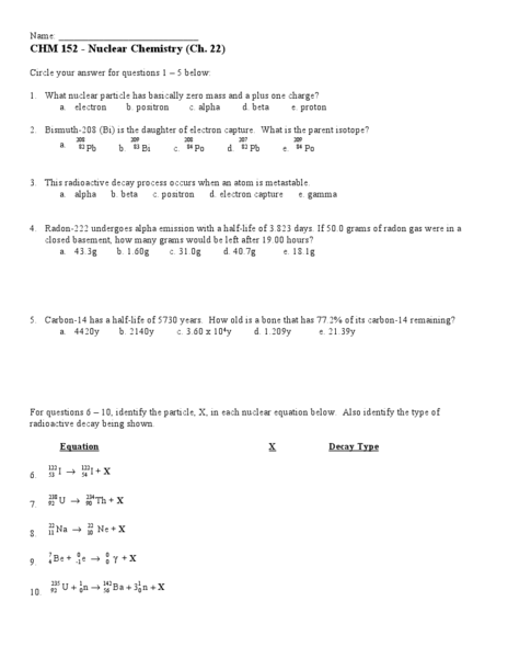 Printables Nuclear Chemistry Worksheet chem 152 nuclear chemistry higher ed worksheet lesson planet