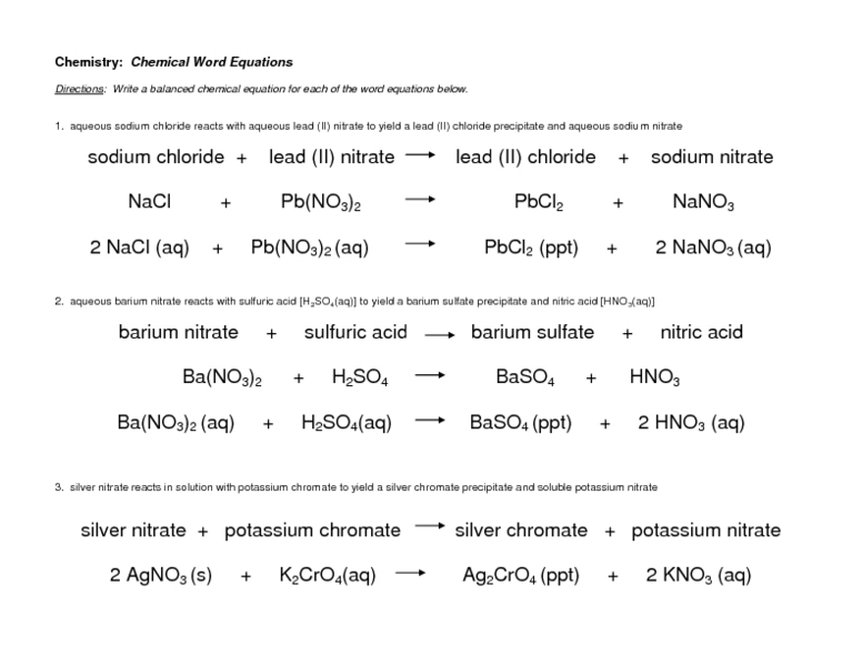 word chemical equations worksheet - Termolak