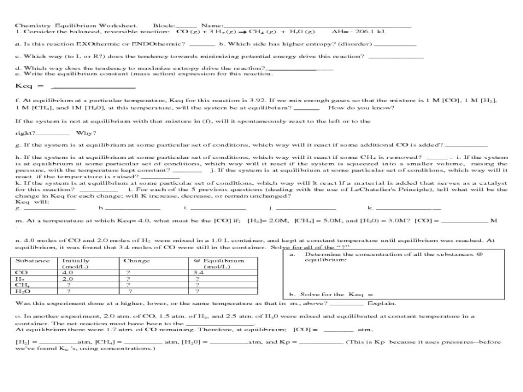 Worksheet Chemical Equilibrium - Sharebrowse