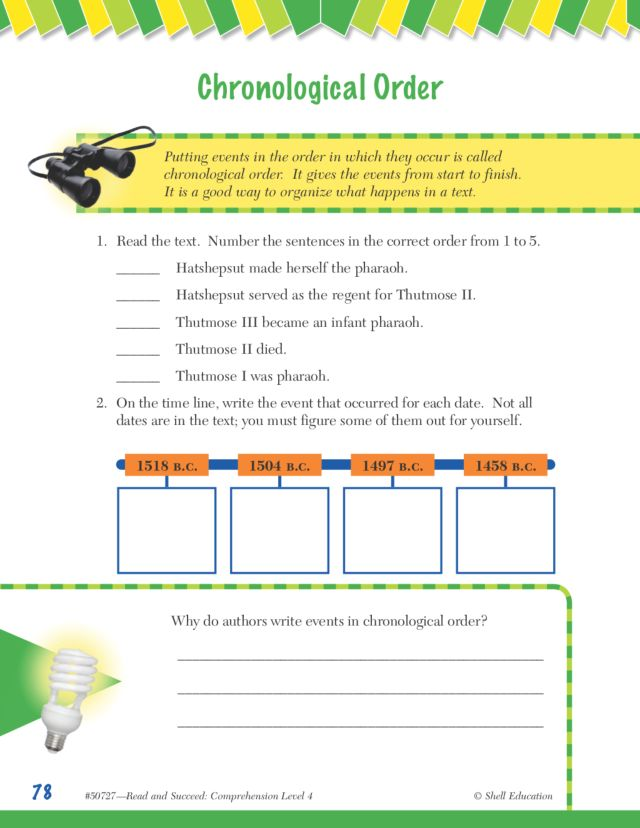 Chronological Order Worksheets For 4th Graders - The Best and Most ...