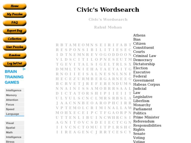 Printables Civics Worksheets civics wordsearch 6th 8th grade worksheet lesson planet