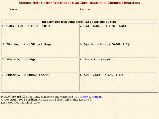 Classification Of Chemical Reactions Worksheet Worksheet – Classification of Chemical Reactions Worksheet