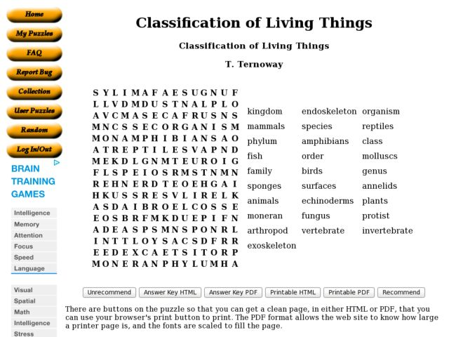 Worksheets Classification Of Organisms Worksheet classification of living things 9th 10th grade worksheet lesson planet