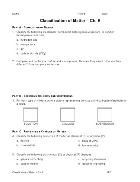 Classification Of Matter Worksheet - classification of matter ...