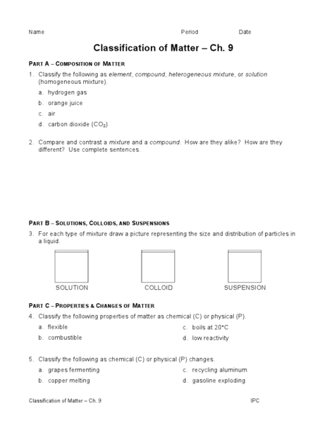 Printables Classifying Matter Worksheet classification of matter 7th 12th grade worksheet lesson planet