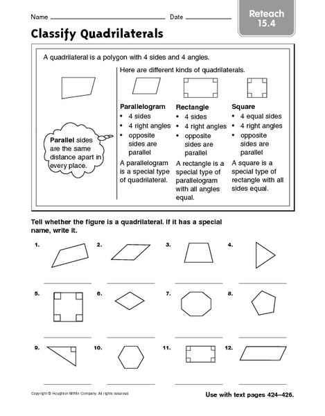 Worksheet Quadrilaterals Worksheet classifying quadrilaterals worksheet fireyourmentor free worksheets classify reteach 15 4 3rd 4th grade lesson planet