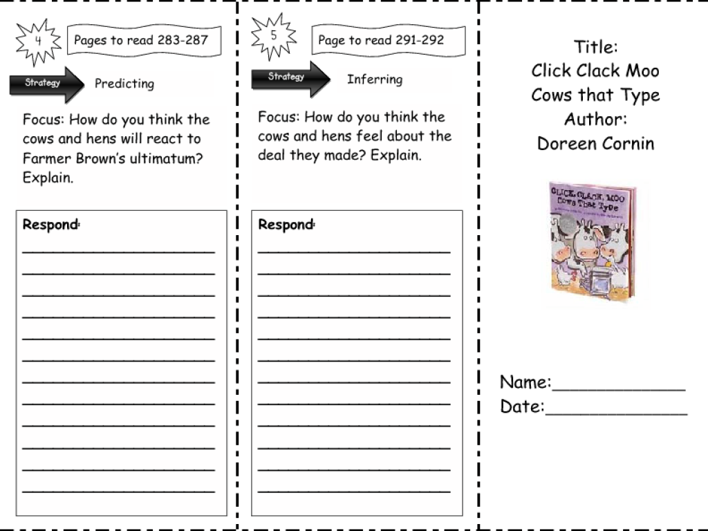 click clack moo cows that type comprehension skills nd rd click clack moo cows that type comprehension skills 2nd 3rd grade worksheet lesson planet