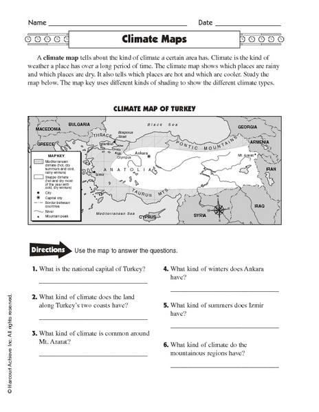 Printables Types Of Maps Worksheets climate maps 4th 5th grade worksheet lesson planet