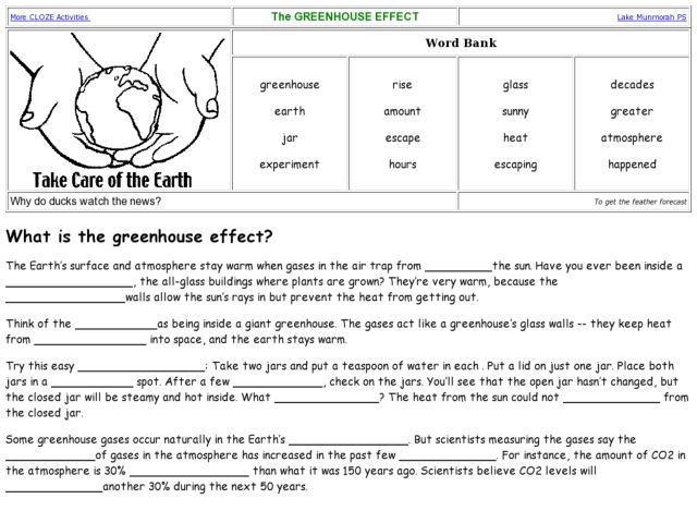 greenhouse effect worksheet Termolak – Greenhouse Effect Worksheet