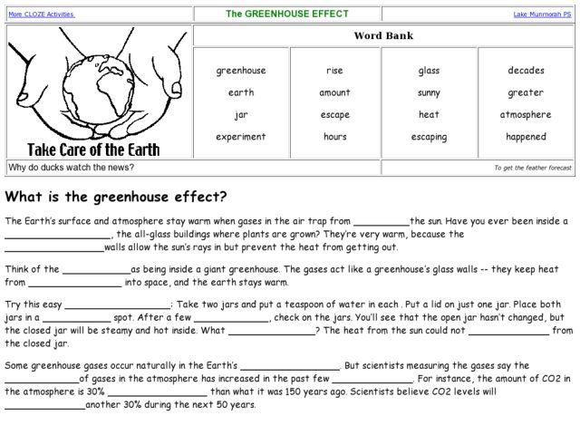 Greenhouse Effect Worksheet - Worksheets
