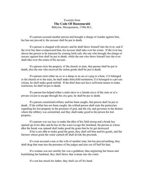 Hammurabis code worksheet
