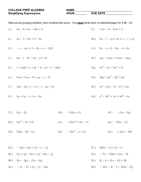 College Prep Math Worksheets - Imatei