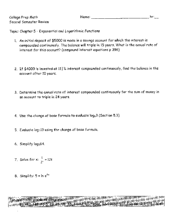 math worksheet : college prep math chapter 5  exponential and logarithmic  : Functions Math Worksheets