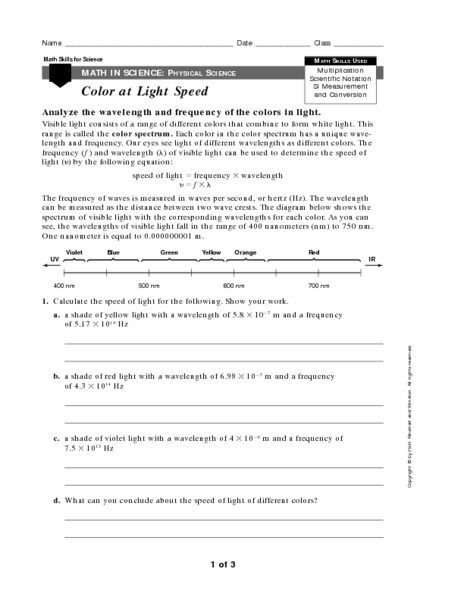 Worksheets Wave Speed Worksheet color at light speed 9th 12th grade worksheet lesson planet