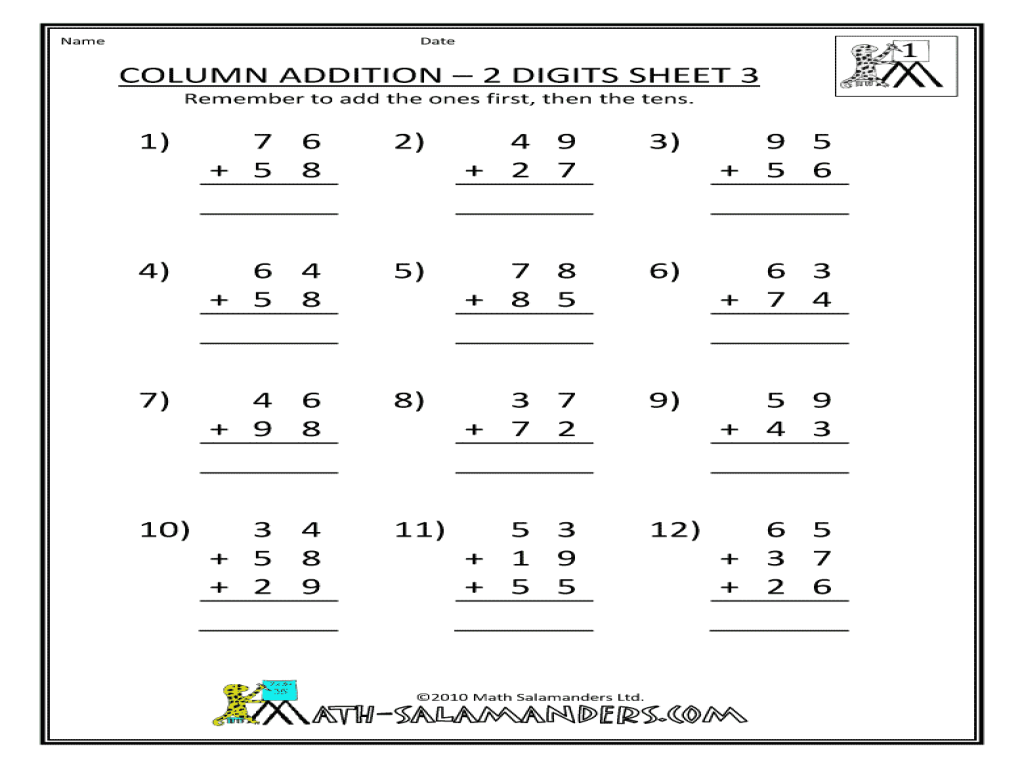 Column Addition 2 digit sheet 3 2nd 3rd Grade Worksheet – Column Addition Year 3 Worksheets